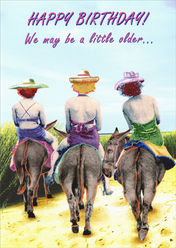 3 Women On Donkeys Funny Humorous Birthday Card By Oatmeal Studios
