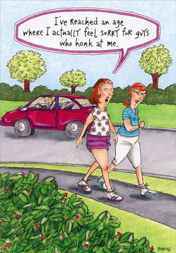 woman walking on path funny humorous birthday card by