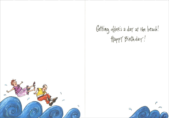 Crashed on Island (1 card/1 envelope) Oatmeal Studios Funny Birthday Card - FRONT: Wow!  This place is fantastic!  We're the youngest ones here!  INSIDE: Getting older's a day at the beach!  Happy Birthday!