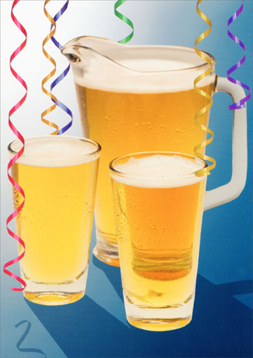 Pitcher of Beer (1 card/1 envelope) - Birthday Card - FRONT: No text  INSIDE: A pitcher is worth a thousand words!  Happy Birthday!