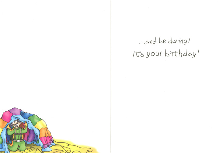 Skydiving Birthday Woman (1 card/1 envelope) Oatmeal Studios Funny Birthday Card - FRONT: Eat, drink..  INSIDE: ..and be daring!  It's your birthday!