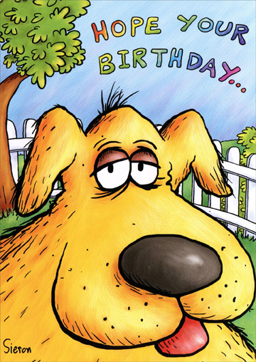 Dog Closeup (1 card/1 envelope) - Birthday Card - FRONT: Hope your birthday�  INSIDE: �is as amazing as you are!