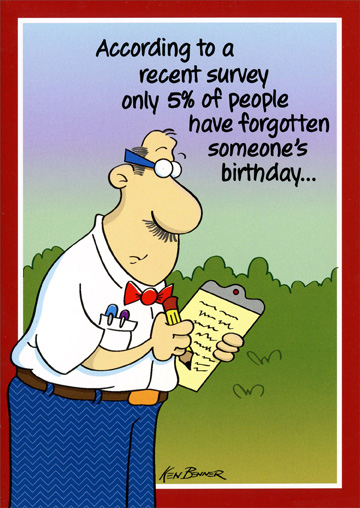 Survey Taker (1 card/1 envelope) Oatmeal Studios Funny Birthday Card - FRONT: According to a recent survey only 5% of people have forgotten someone's birthday�  INSIDE: The other 95% forgot to take the survey! Happy Birthday!