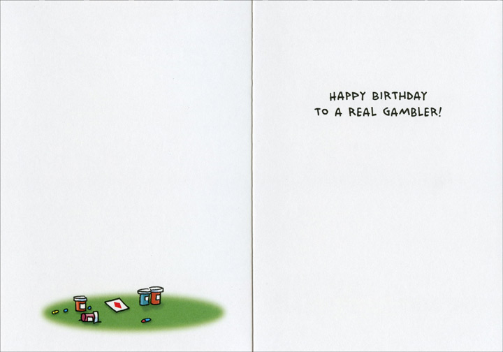 Senior Poker (1 card/1 envelope) Oatmeal Studios Funny Birthday Card - FRONT: I'll see your jar of fiber and raise you two happy pills!  INSIDE: Happy Birthday to a real gambler!