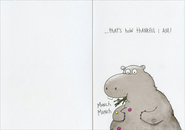 Bunch, Heap, Ton (1 card/1 envelope) - Thank You Card - FRONT: A Bunch, A Heap, A Ton�  INSIDE: �that's how thankful I am!