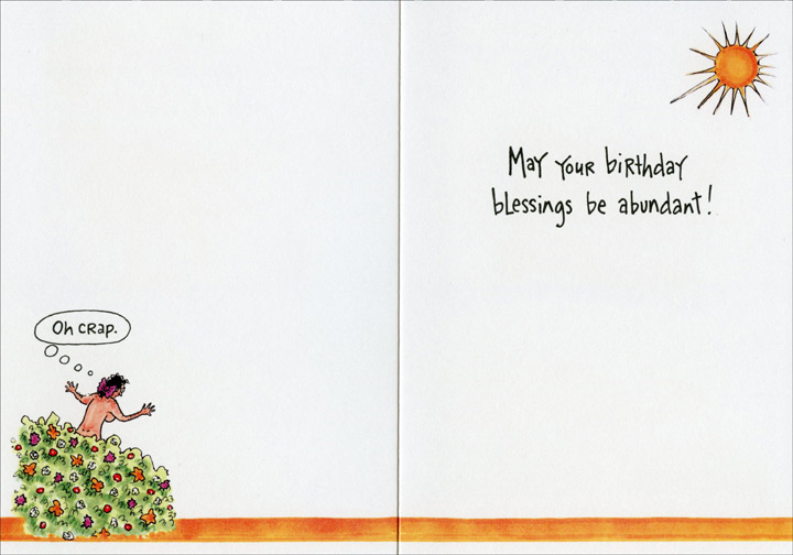 I'm Lonely (1 card/1 envelope) Oatmeal Studios Funny Birthday Card - FRONT: God, I'm lonely, please make me a woman with big boobs.  INSIDE: May your birthday blessings be abundant!