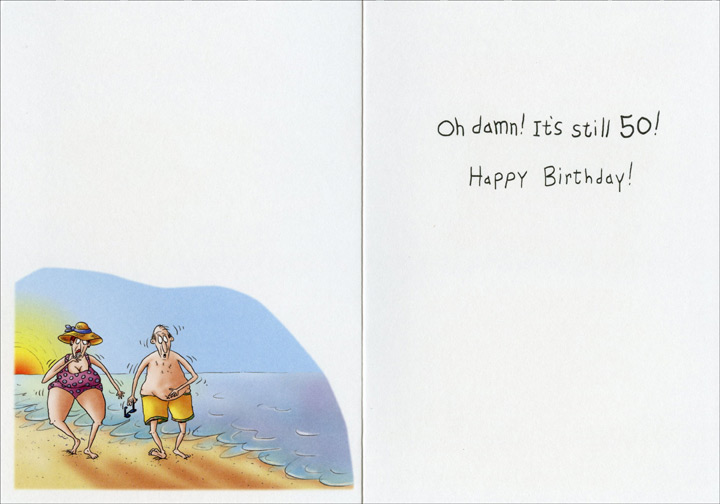 Couple Flexing on Beach (1 card/1 envelope) - Birthday Card - FRONT: 50 is the new�  INSIDE: Oh damn! It's still 50! Happy Birthday!