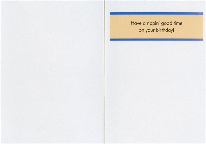 Brazilian Wax (1 card/1 envelope) Oatmeal Studios Funny Birthday Card - FRONT: Eunice was about to discover that a Brazilian Wax had nothing to do with dusting furniture.  INSIDE: Have a rippin' good time on your birthday!