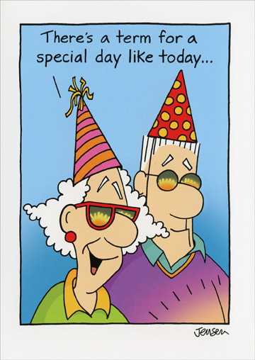 Partiers with Sunglasses (1 card/1 envelope) Oatmeal Studios Funny 70th Birthday Card - FRONT: There's a term for a special day like today�  INSIDE: Worst Cake Scenario! Happy 70th Birthday!