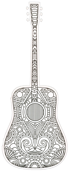 acoustic guitar coloring card die cut blank note card by paper house productions