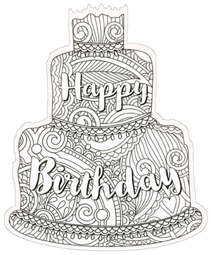 Happy Birthday Cake Coloring Card Paper House Die Cut Blank Card