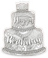 Happy Birthday Cake Coloring Card (1 card/1 envelope) Paper House Die Cut Blank Card