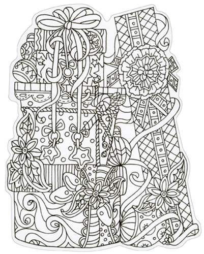 Gifts Die Cut Coloring Card Blank Note Card by Paper House ...