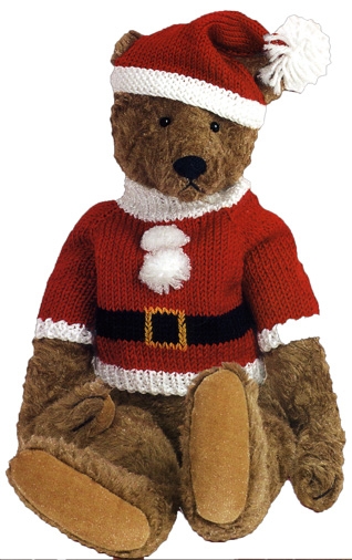 Teddy Bear Santa (1 card/1 envelope) Christmas Card - FRONT: No Text  INSIDE: Happy Holidays