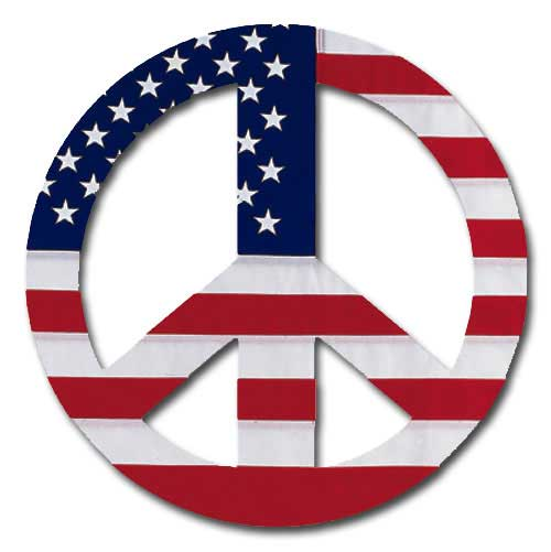 Peace Sign - Us Flag (1 card/1 envelope) Paper House Productions Die Cut Blank Card