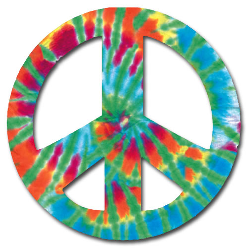 Peace Sign - Tie Dye (1 card/1 envelope) Paper House Productions Die Cut Birthday Card  INSIDE: peace - love - happy birthday