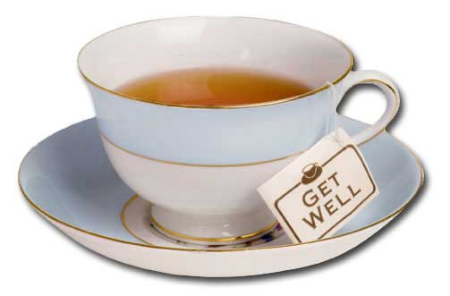 Soothing Tea (1 card/1 envelope) - Get Well Card - FRONT: GET WELL  INSIDE: hope you're feeling better soon