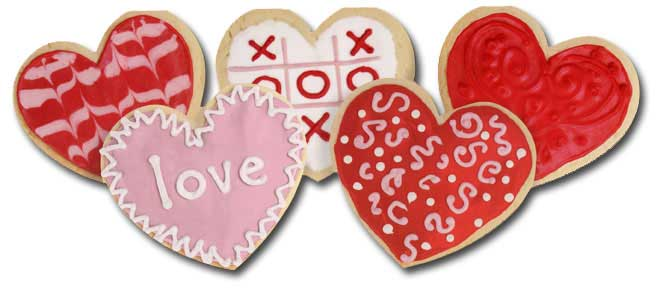 Heart Cookies (1 card/1 envelope) - Valentine's Day Card  INSIDE: Sending you love on Valentine's Day