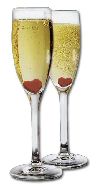 Love Champagne (1 card/1 envelope) Paper House Productions Die Cut Valentine's Day Card  INSIDE: here's to us  Happy Valentine's Day