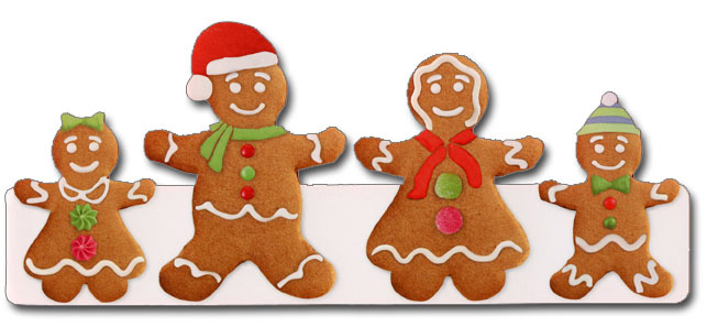 Gingerbread Family (1 card/1 envelope) - Christmas Card  INSIDE: warmest wishes for a very happy holiday