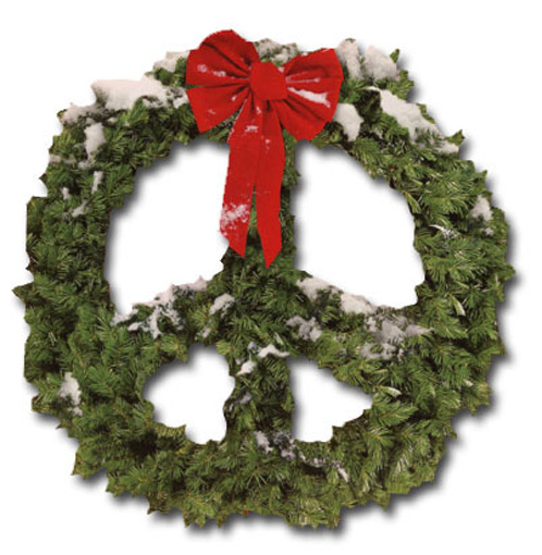 Peace Sign - Wreath (1 card/1 envelope) Paper House Productions Die Cut Christmas Card  INSIDE: wishing you peace this holiday season
