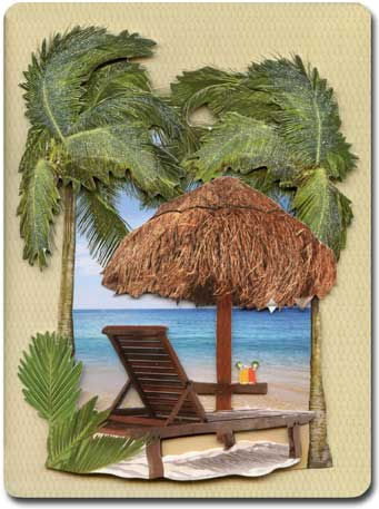 Beach (1 card/1 envelope) Paper House Productions Die Cut 3D Blank Card