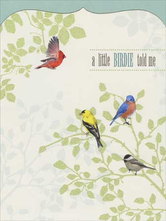 A Little Birdie (1 card/1 envelope) - Birthday Card - FRONT: a little BIRDIE told me  INSIDE: that today is your BIRTHDAY. Enjoy every moment.