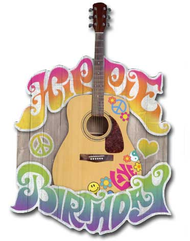 Hippie Birthday (1 card/1 envelope) - Birthday Card - FRONT: Hippie Birthday  INSIDE: Hope your birthday is groovy