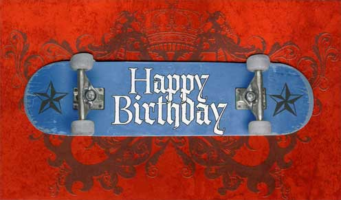Skateboard (1 card/1 envelope) Paper House Productions Die Cut 3D Birthday Card - FRONT: Happy Birthday  INSIDE: Hope your birthday is as cool as you are.