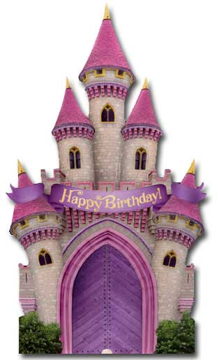 Magical Castle (1 card/1 envelope) Paper House Productions Die Cut 3D Birthday Card - FRONT: Happy Birthday!  INSIDE: Hope your birthday is magical!