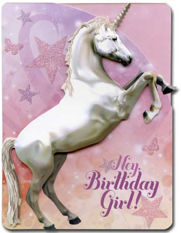 Unicorn (1 card/1 envelope) Paper House Productions Die Cut 3D Birthday Card - FRONT: Hey, Birthday Girl!  INSIDE: Hope your birthday is truly magical!