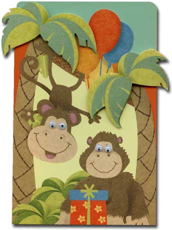 Little Monkeys (1 card/1 envelope) Paper House Productions Die Cut 3D Birthday Card  INSIDE: Go Bananas!  It's your Birthday