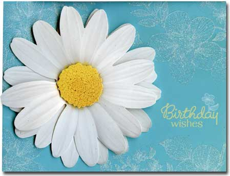 3D Flower (1 card/1 envelope) Paper House Productions Die Cut 3D Birthday Card - FRONT: Birthday wishes  INSIDE: Hope this day is as special as you.  Happy Birthday