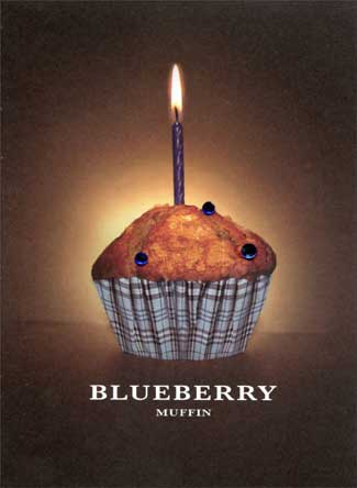Blueberry Muffin (1 card/1 envelope) Paper House Productions 3D Birthday Card - FRONT: BLUEBERRY MUFFIN  INSIDE: May your birthday be Fashionably Sweet