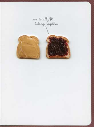 Peanut Butter & Jelly (1 card/1 envelope) - Anniversary Card - FRONT: we totally belong together  INSIDE: Happy Anniversary