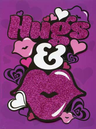 Hugs & Kisses (1 card/1 envelope) Paper House Productions Die Cut 3D Anniversary Card - FRONT: Hugs & (picture of lips)  INSIDE: Happy Anniversary