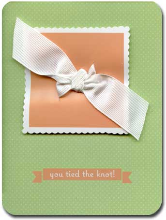 Tie the Knot (1 card/1 envelope) Paper House Productions Die Cut 3D Wedding Card - FRONT: you tied the knot!  INSIDE: congratulations