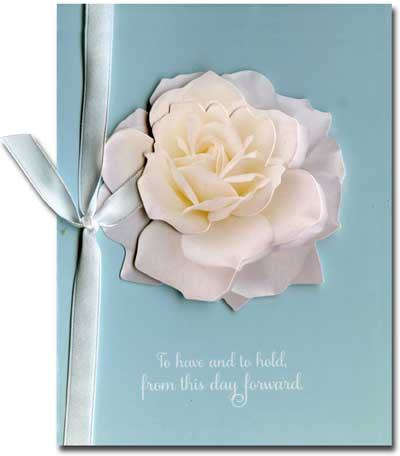 Rose (1 card/1 envelope) Paper House Productions Die Cut 3D Wedding Card - FRONT: To have and to hold, from this day forward  INSIDE: Congratulations
