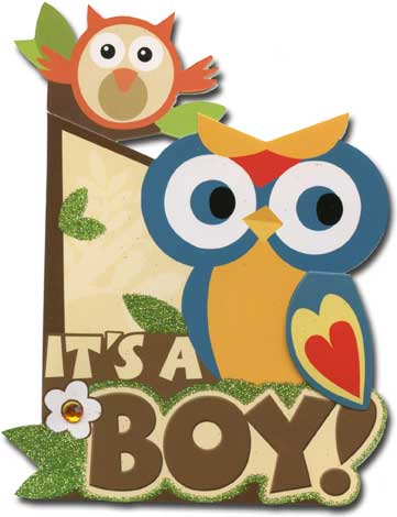 It's a Boy (1 card/1 envelope) Paper House Productions Die Cut 3D New Baby Card - FRONT: It's a Boy!  INSIDE: Congratulations
