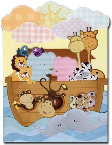 Noah's Ark (1 card/1 envelope) Paper House Productions Die Cut 3D New Baby Card  INSIDE: What a joy a baby brings into our lives.