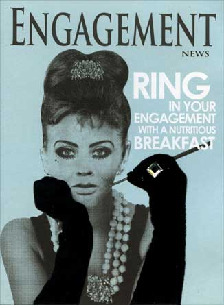 Engagement News (1 card/1 envelope) Paper House Productions 3D Engagement Card - FRONT: ENGAGEMENT NEWS - Ring in your engagement with a nutritious breakfast  INSIDE: May all your days together be sunny side up.  Congratulations on Your Engagement