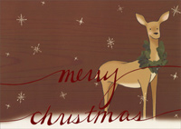 Deer with Wreath (1 card/1 envelope) - Christmas Card - FRONT: merry christmas  INSIDE: �and best wishes for a wonderful new year.