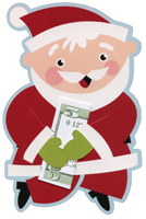 Santa Money Grabber (1 card/1 envelope) - Christmas Money Holder  INSIDE: To:  From:  Message: