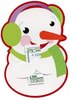 Snowman Money Grabber (1 card/1 envelope) - Christmas Money Holder  INSIDE: To:  From:  Message: