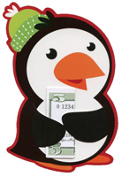 Penguin Money Grabber (6 cards/6 envelopes) - Christmas Money/Gift Card Holders  INSIDE: To:  From:  Message: