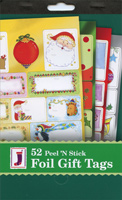 52 Peel 'n Stick Foil Christmas Gift Tags