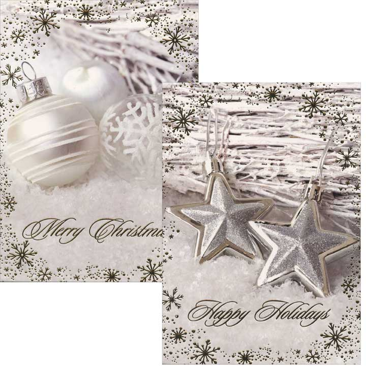 White & Star Ornaments (26 card/26 envelope) Paper Magic Assorted Boxed Christmas Cards