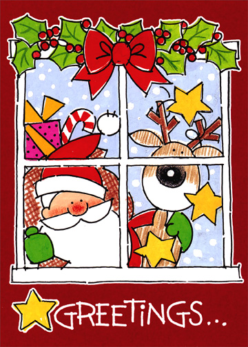 Santa & Reindeer in Window: Red (1 card/1 envelope) Christmas Card - FRONT: Greetings..  INSIDE: ..And Warm Wishes for a Merry Christmas!