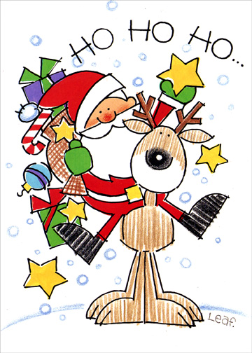 Santa on Reindeer's Back (1 card/1 envelope) - Christmas Card - FRONT: HO HO HO..  INSIDE: Merry Merry Christmas!  Happy New Year Too!
