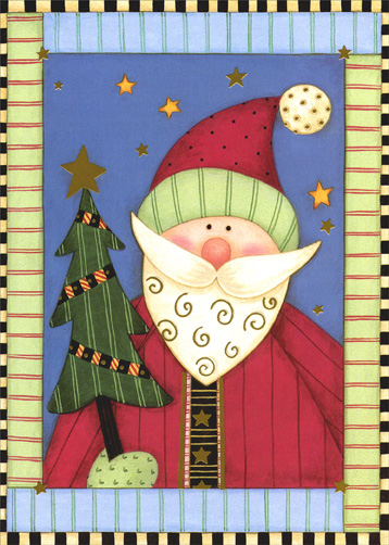 Folk Art - Santa & Tree (1 card/1 envelope) - Christmas Card - FRONT: No Text  INSIDE: Discover the magic of Christmas and enjoy the gift of love, this season and always.